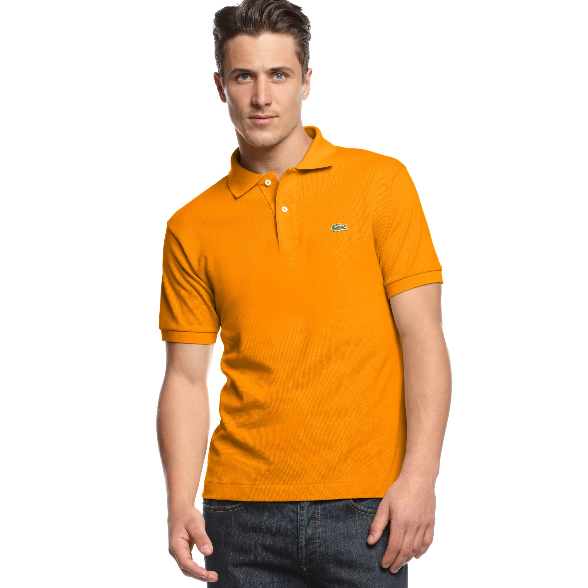 Lacoste Classic Pique Polo Shirt In Orange For Men Orange