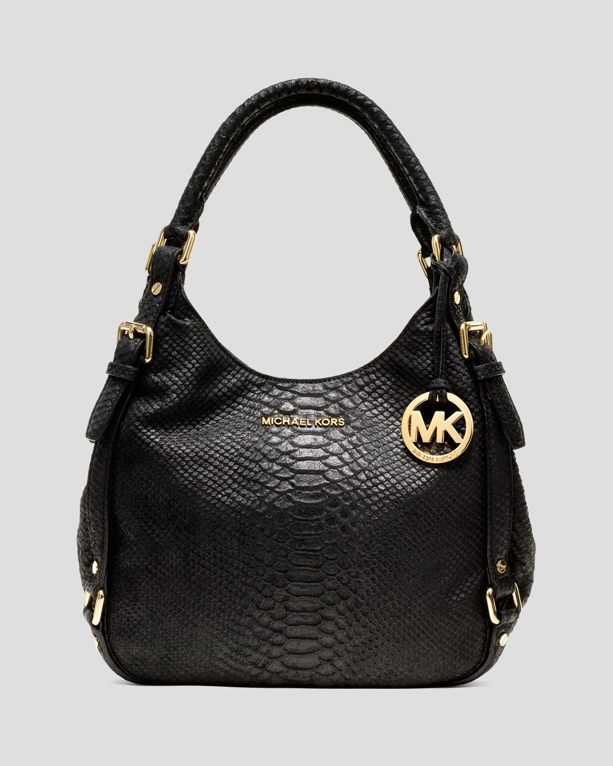 michael michael kors shoulder bag bedford medium python embossed in black lyst. Black Bedroom Furniture Sets. Home Design Ideas