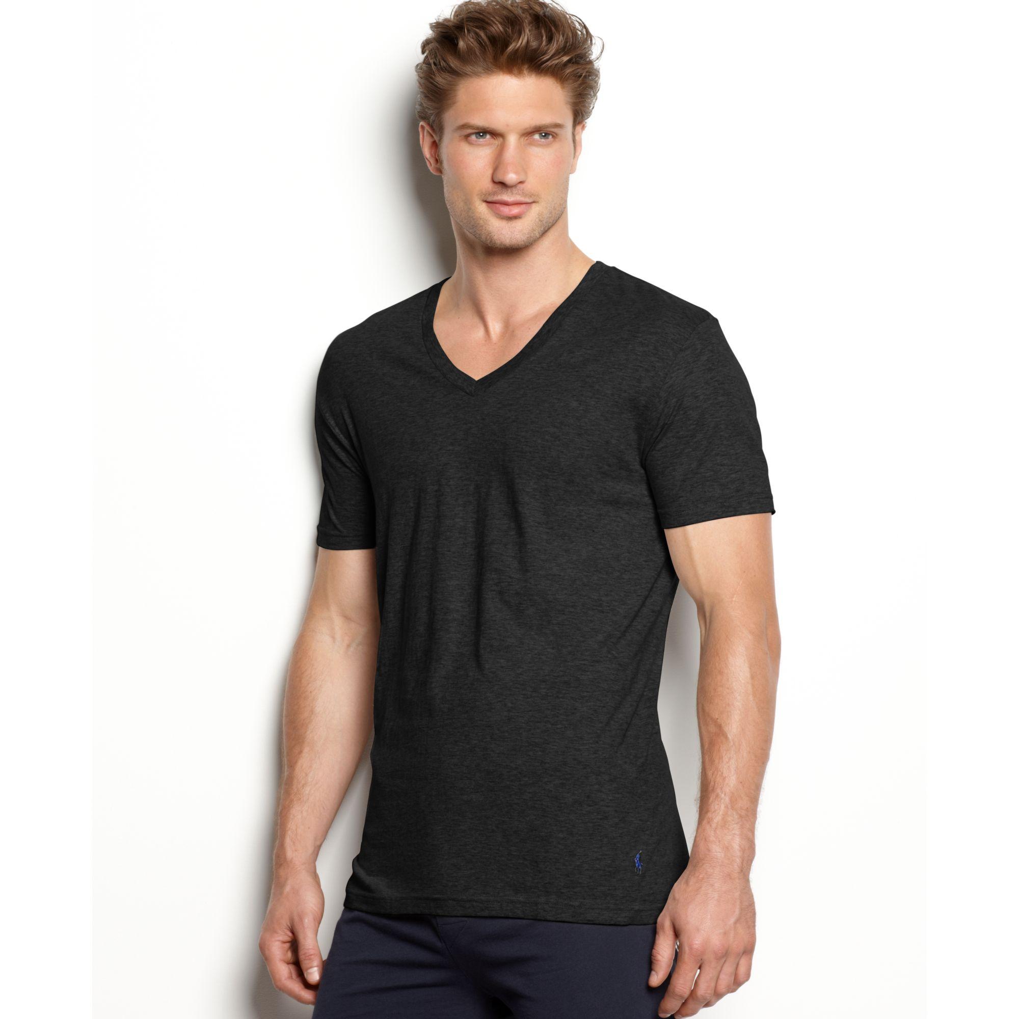 1a8e2f2645e Lyst - Ralph Lauren Slim Fit Stretch V Neck T Shirt 2 Pack in Black ...