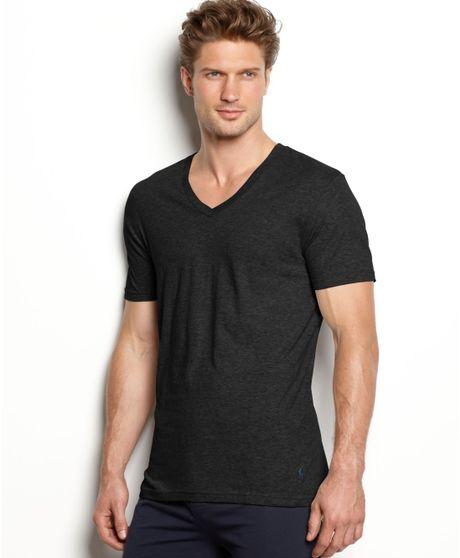ralph lauren slim fit stretch v neck t shirt 2 pack in black for men. Black Bedroom Furniture Sets. Home Design Ideas