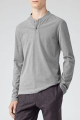 Reiss Porto Long Sleeve Grandad Top - Lyst