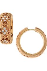 Roberto Coin Granada Diamond Hoop Earrings Rose Gold - Lyst