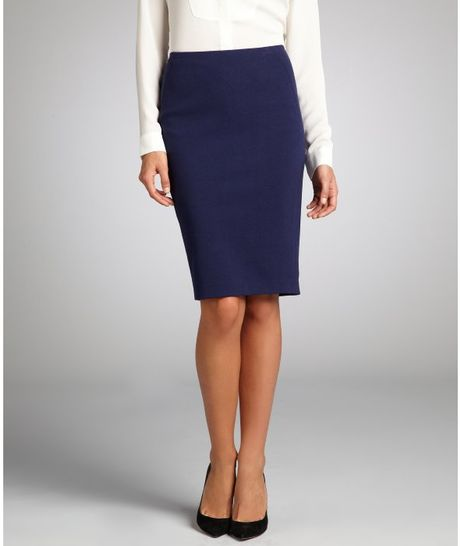 tahari navy stretch blend kelsa pencil skirt in blue navy