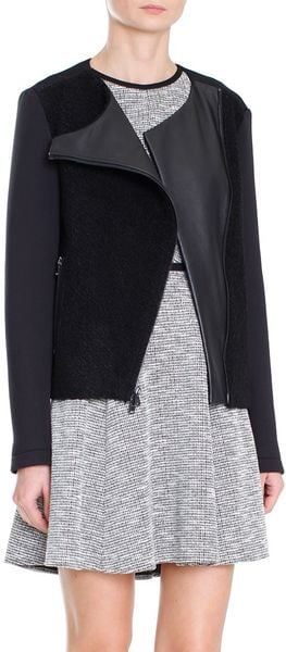 Tibi Boucle Knit Biker Jacket in Black Lyst