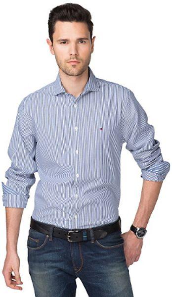 Tommy hilfiger lexington striped shirt in blue for men for Tommy hilfiger fitzgerald striped shirt