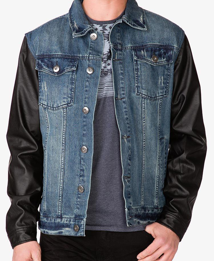 89934e23630 Lyst - Forever 21 Faux Leather Sleeve Denim Jacket in Black for Men
