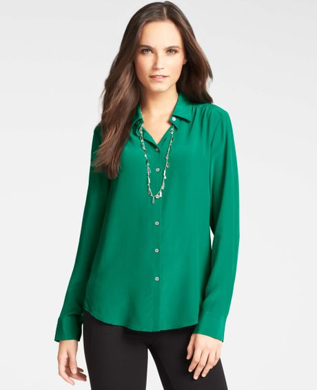 Womens Green Silk Blouse 82