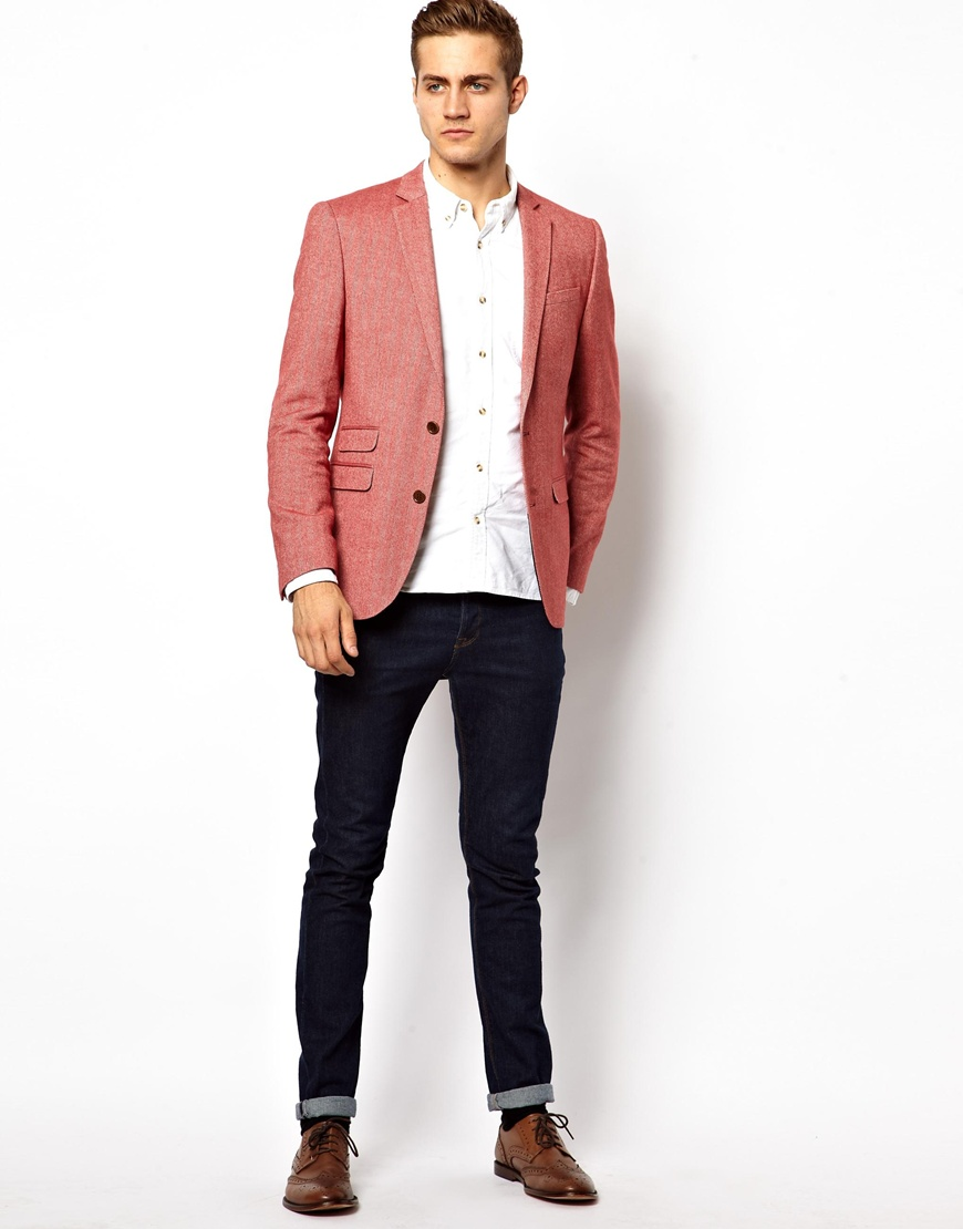 Collection Red Slim Fit Blazer Pictures - Reikian