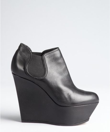 casadei black leather platform wedge chelsea ankle boots