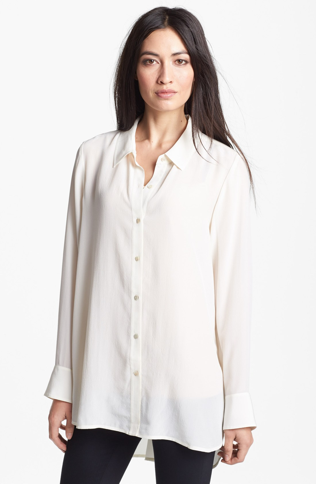 Eileen Fisher New Hi Low Long Silk De Chine Classic Collar