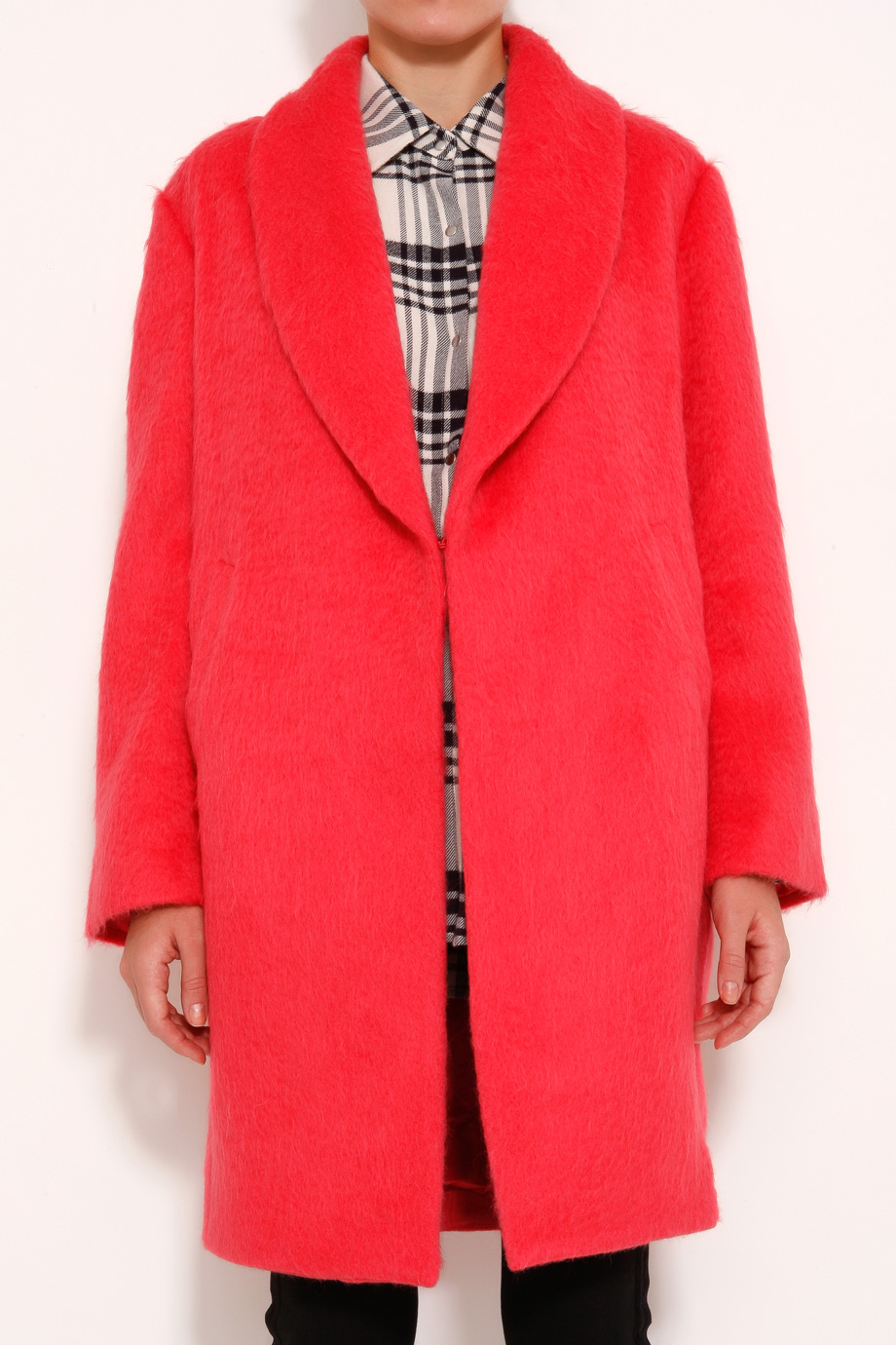 Elizabeth and james Colton Mohair Coat in Pink | Lyst