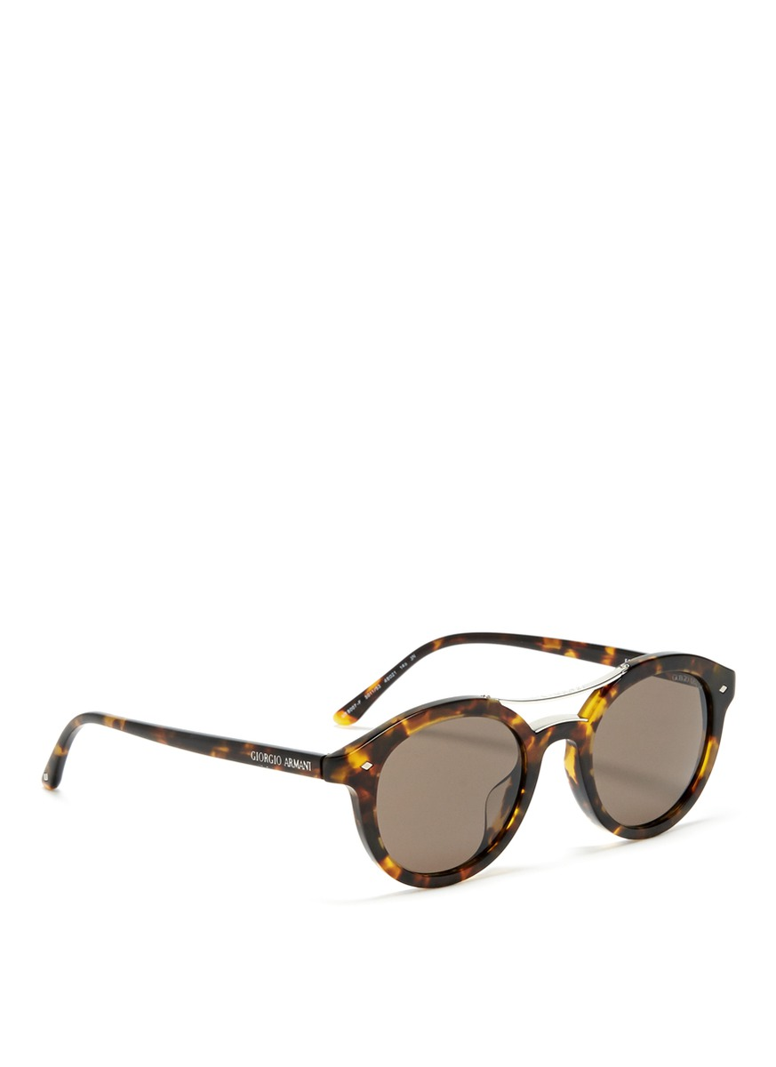 Giorgio Armani Tortoise Shell Round Sunglasses In Brown