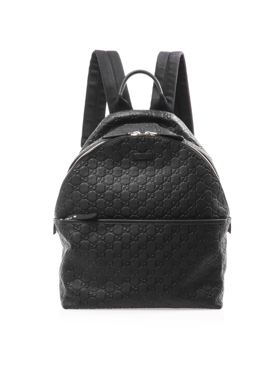 Gucci Gg Embossed Leather Backpack in Black for Men | Lyst