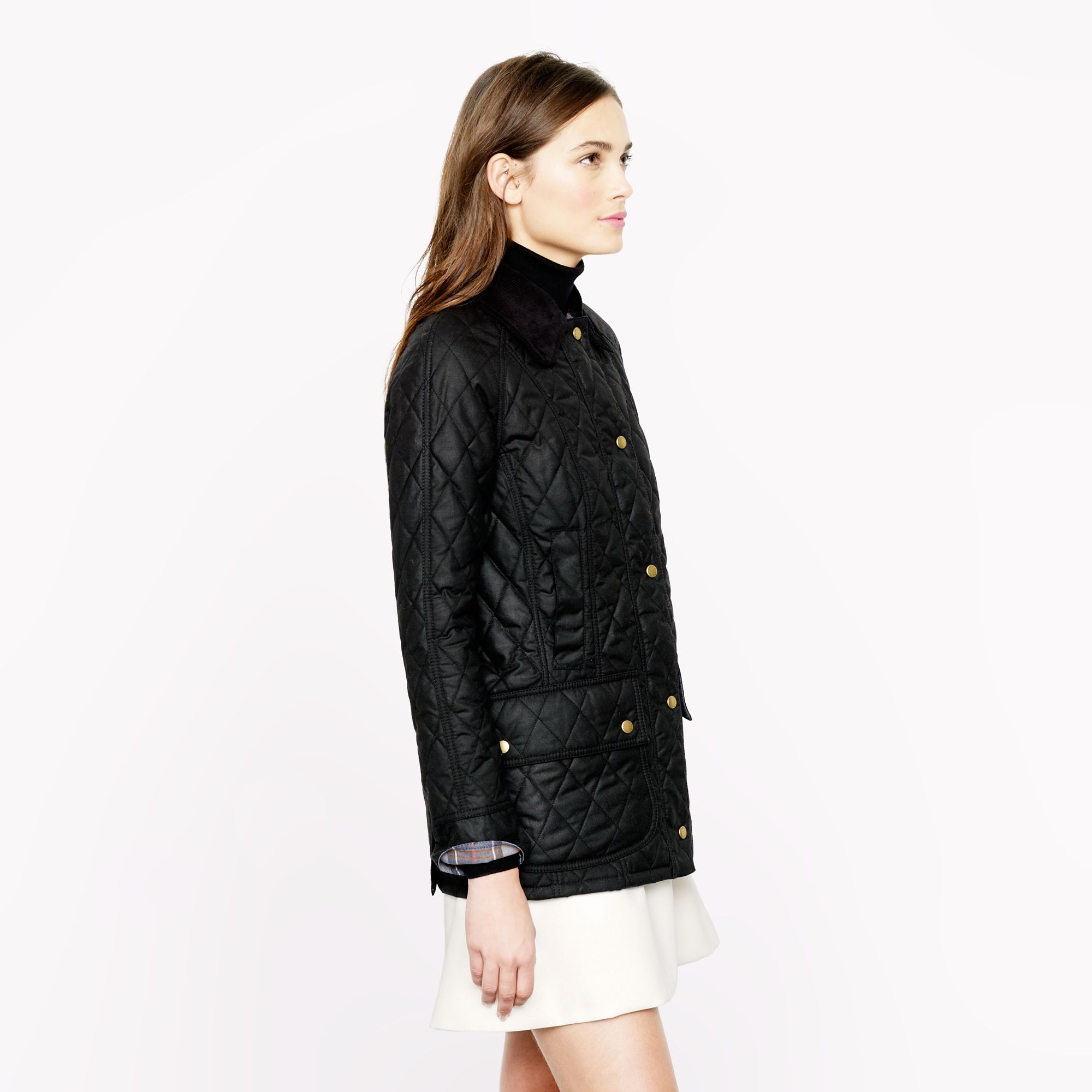 J Crew Barbour Quilted Beadnell Jacket In Black Lyst