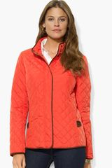 Lauren by Ralph Lauren Faux Suede Trim Quilted Jacket - Lyst