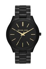 Michael Kors Midsize Black Stainless Steel Runway Threehand Watch - Lyst