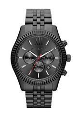 Michael Kors Oversize Black Stainless Steel Lexington Chronograph Watch - Lyst