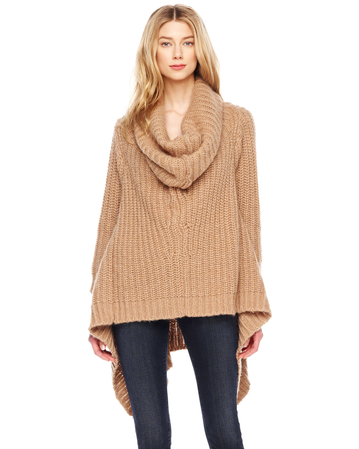 Michael kors Michael Oversize Cowlneck Sweater in Natural | Lyst