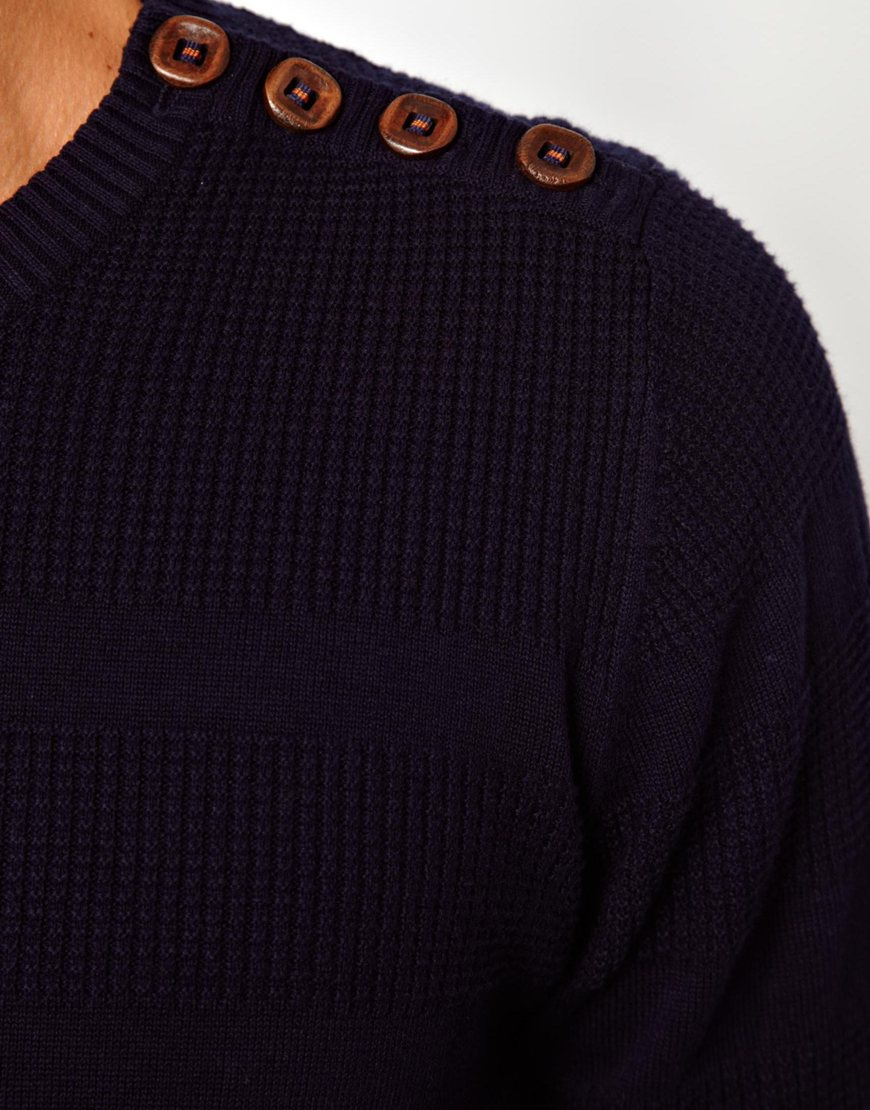 Fred Perry Minimum Sweater With Button Shoulder In Blue