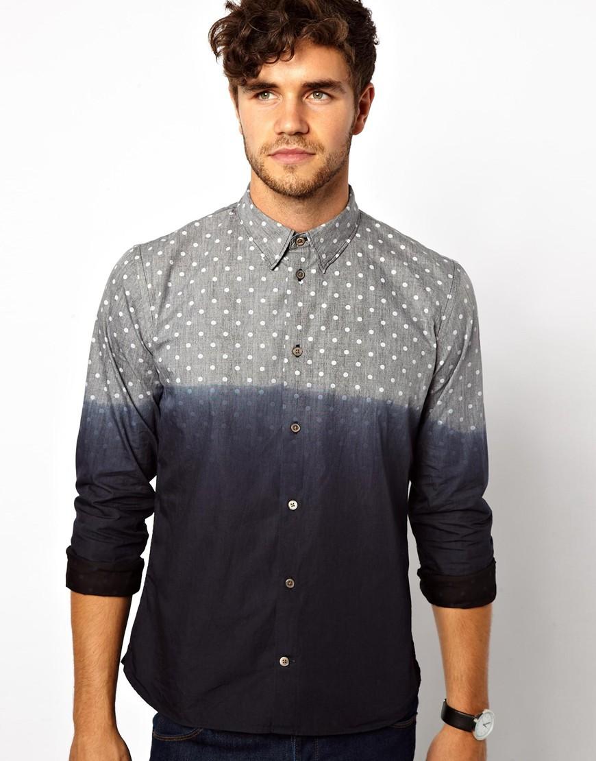 Lyst paul smith dip dye polka dot shirt in slim fit in for Mens dip dye shirt