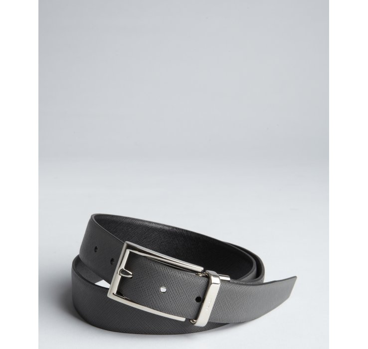 f3ae30269dc7f ... 50% off lyst prada black and grey saffiano leather reversible belt in  95023 9f3dc