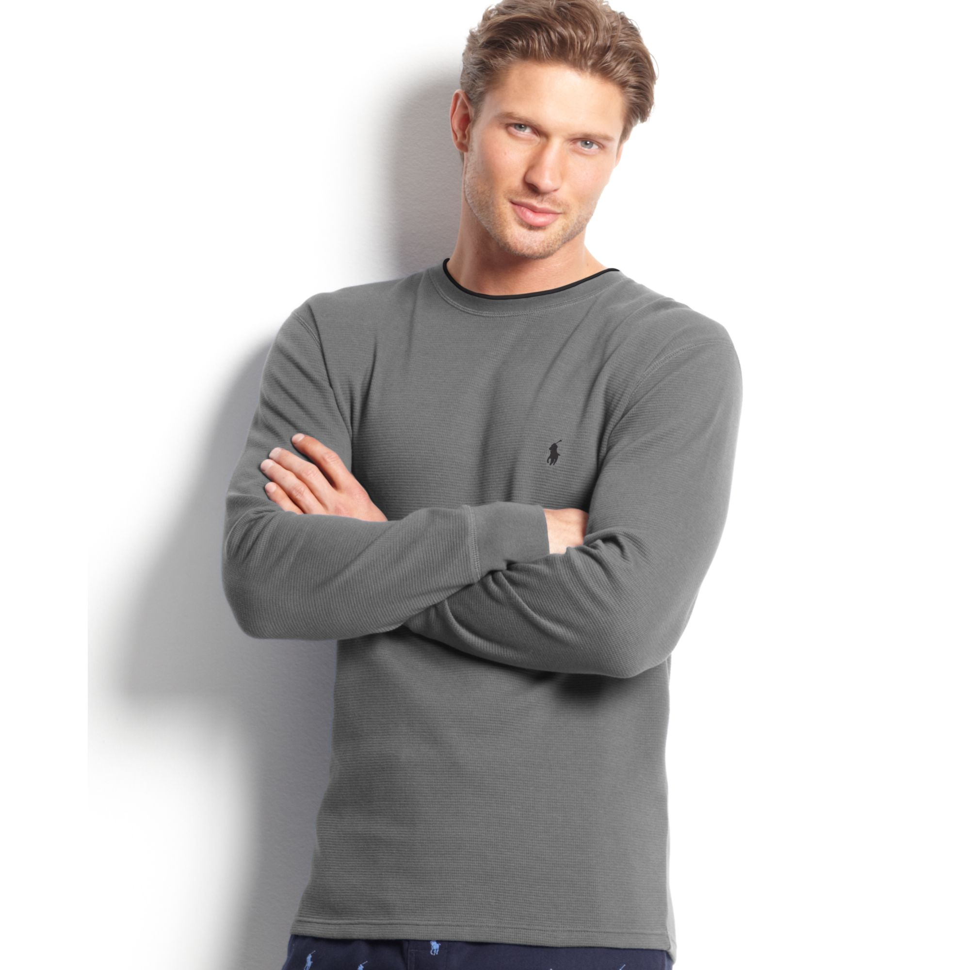 ralph lauren longsleeve crewneck waffleknit tipped thermal top in gray for men andover heather. Black Bedroom Furniture Sets. Home Design Ideas
