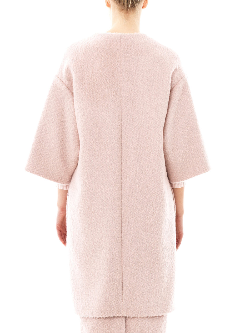 Roksanda Collarless Wool Swing Coat in Pink   Lyst