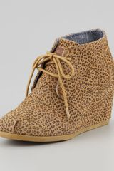 Toms Cheetahprint Wedge Desert Boot - Lyst