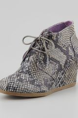 Toms Snakeprint Wedge Desert Boot - Lyst