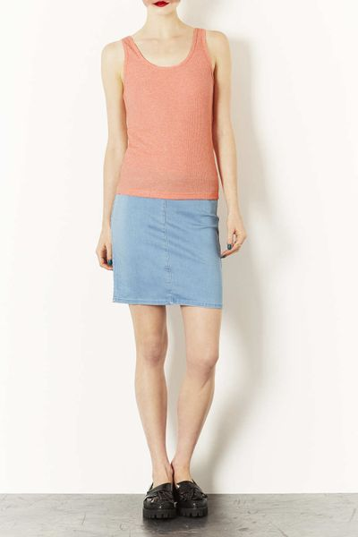 topshop moto denim midi skirt in blue