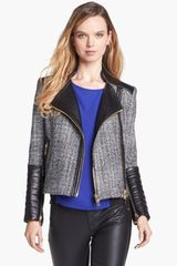Vince Camuto Tweed Faux Leather Moto Jacket - Lyst