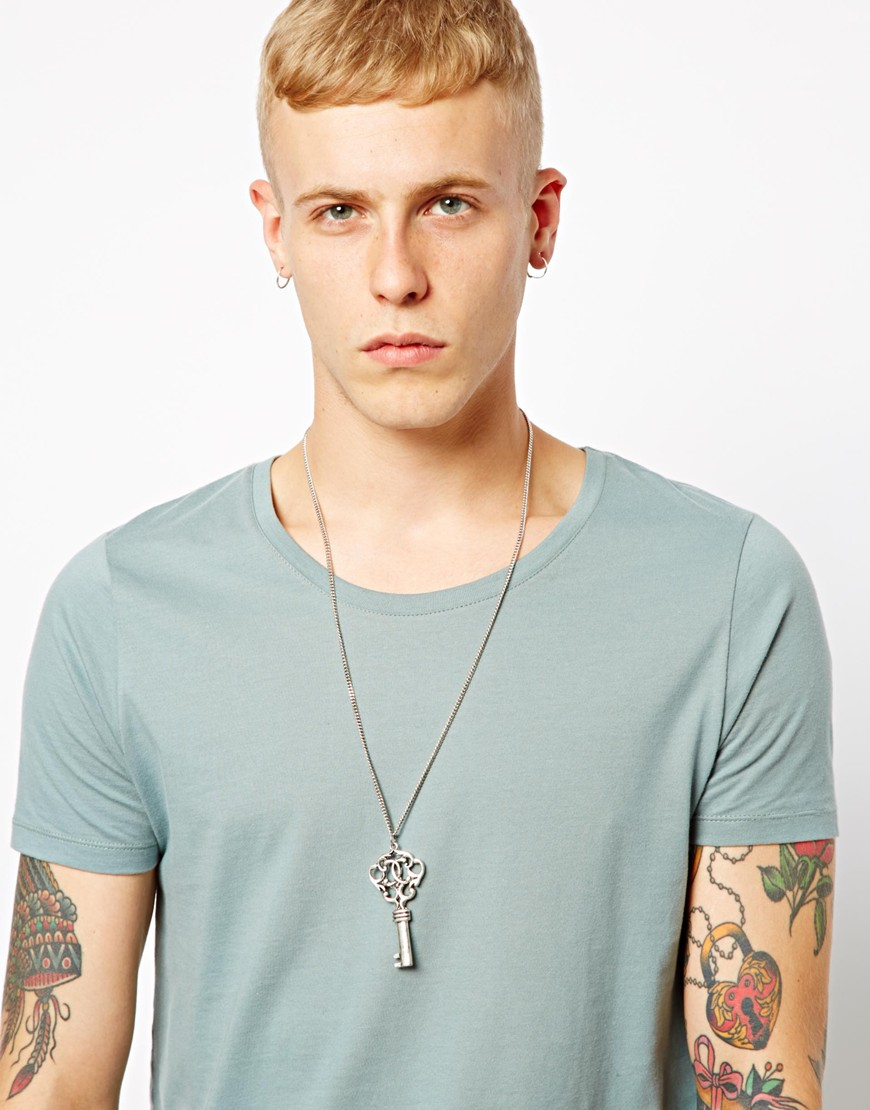 Lyst asos afends key necklace in metallic for men aloadofball Image collections