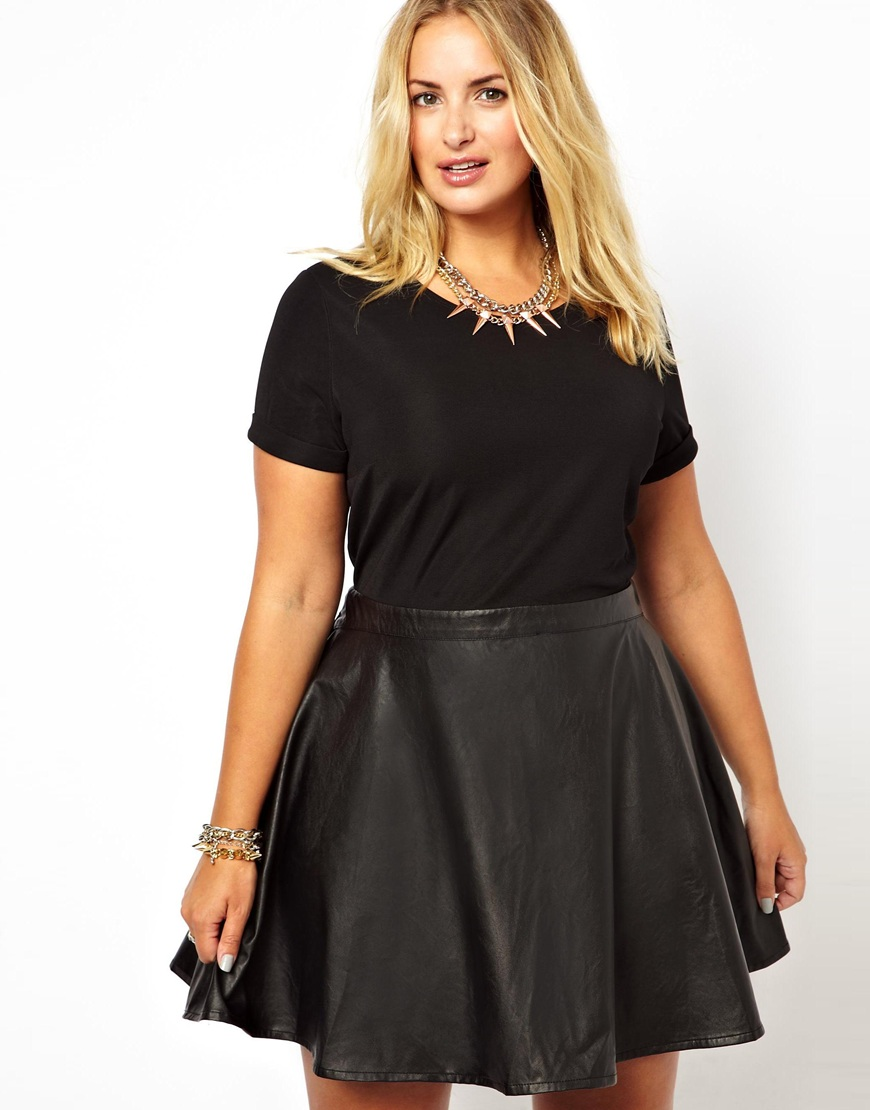 Wrangler Alice You Jersey Dress With Leather Look Skater Skirt in ...