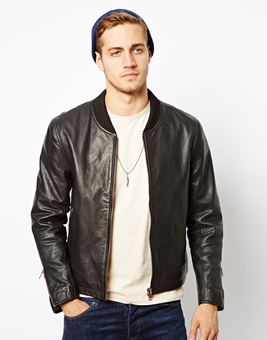 Black Leather Bomber Jacket Mens | Outdoor Jacket