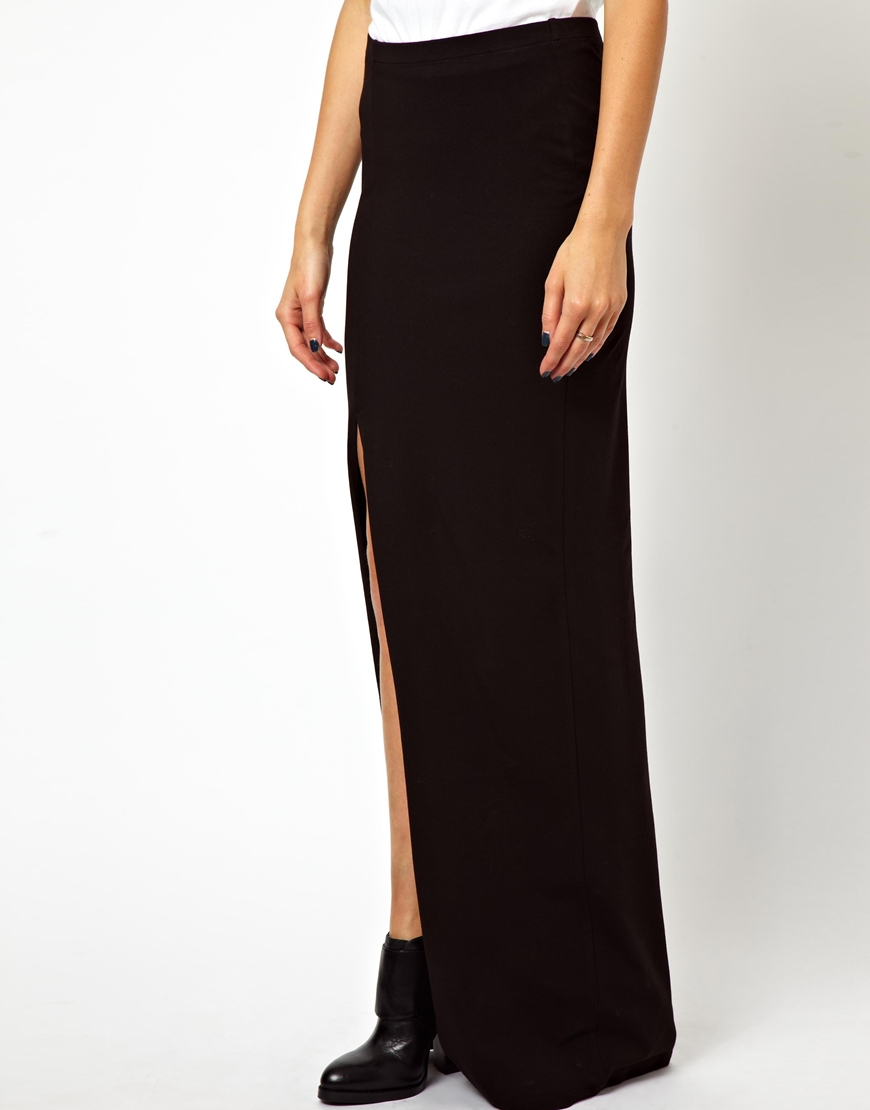 asos maxi skirt with thigh high split in black lyst