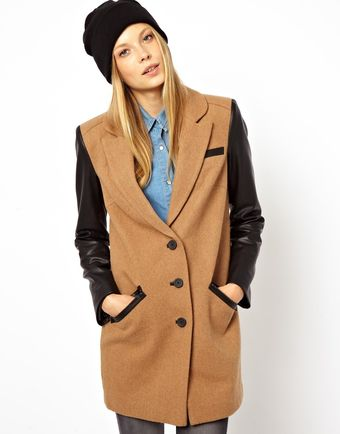 Asos Coat with Leather Look Sleeve Zip Detail - Lyst
