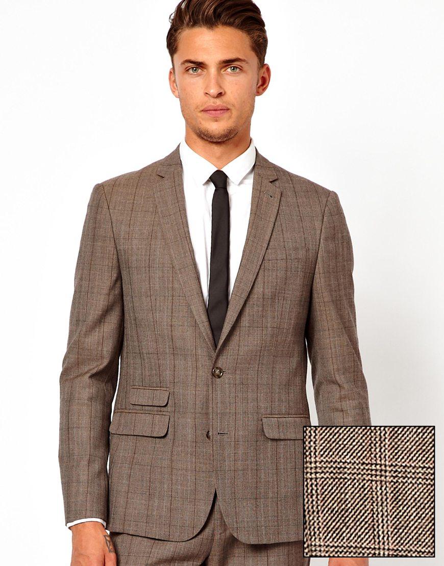 Asos Slim Fit Suit Jacket in Check in Brown for Men | Lyst