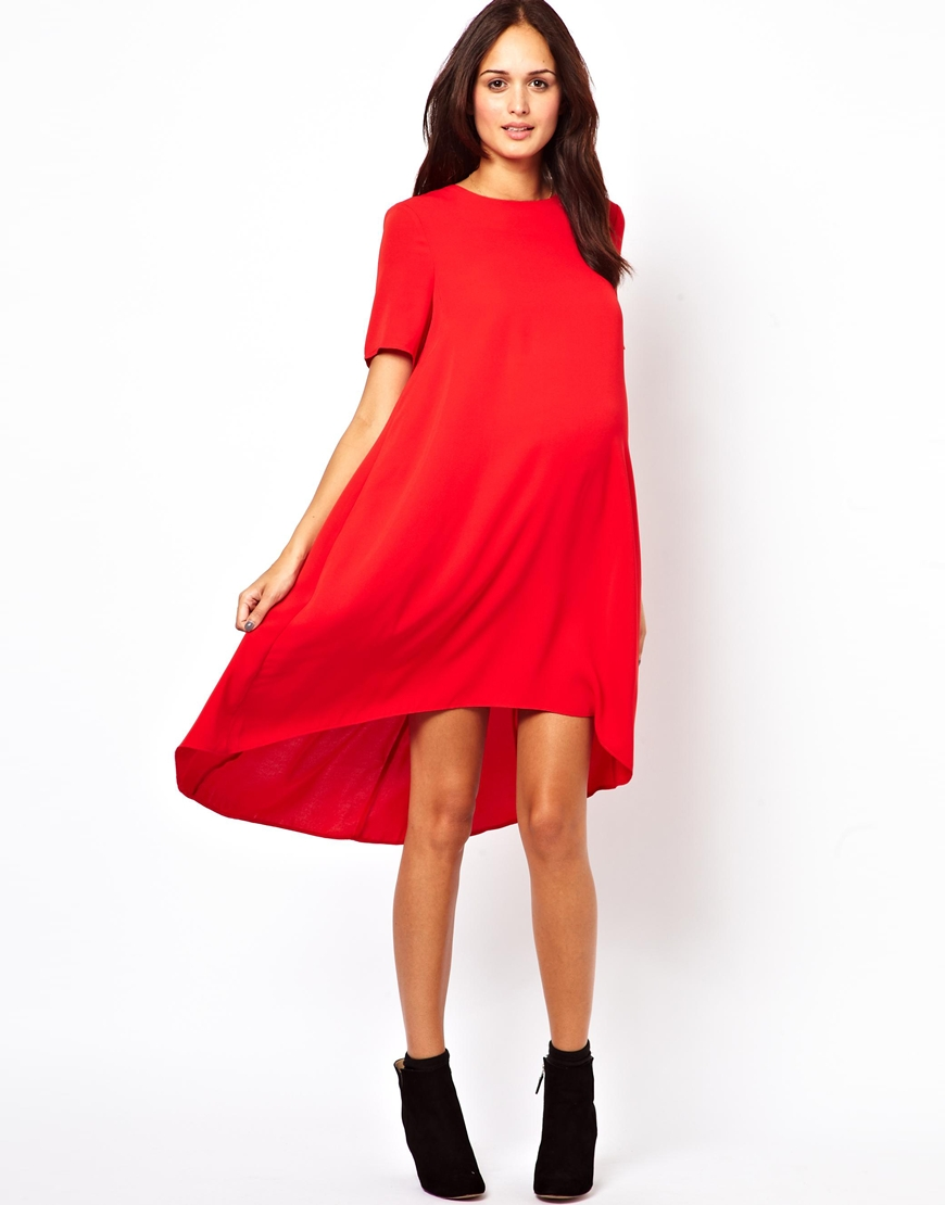 Asos maternity swing dress with dipped hem in red lyst gallery womens swing dresses ombrellifo Image collections