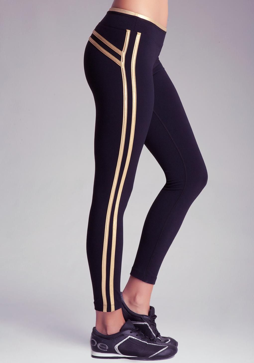 81b3b010639 Bebe Foil Stripe Legging Sport in Black - Lyst