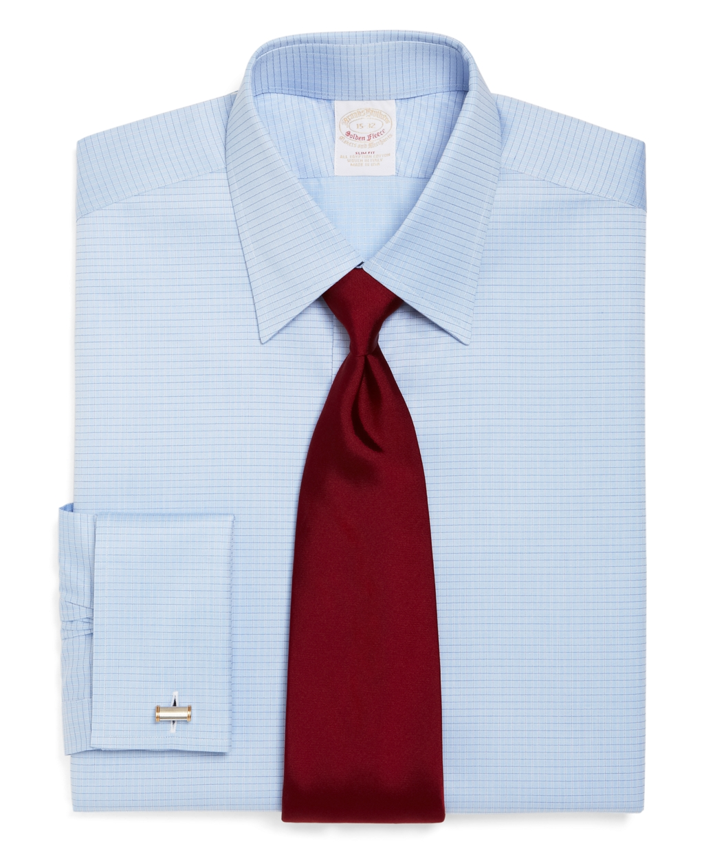 Brooks brothers golden fleece regent fit ground check for Light blue french cuff dress shirt
