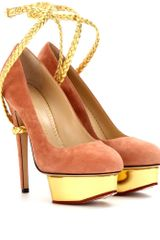 Charlotte Olympia Dolly Braid Suede Platform Pumps - Lyst