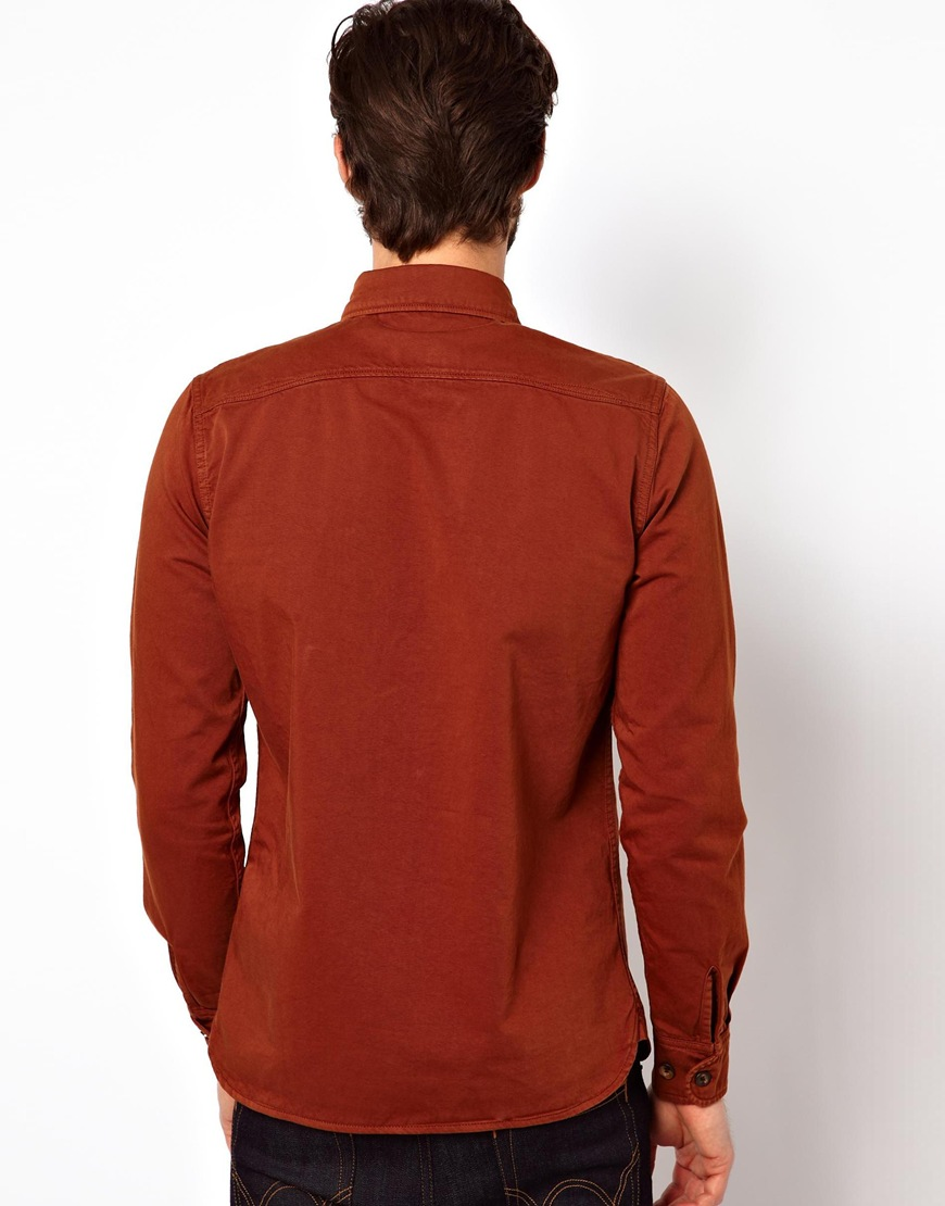 Edwin Shirt Loggerhead Heavy Cotton Twill In Red For Men