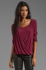 Ella Moss Stella Long Sleeve Top in Burgundy - Lyst