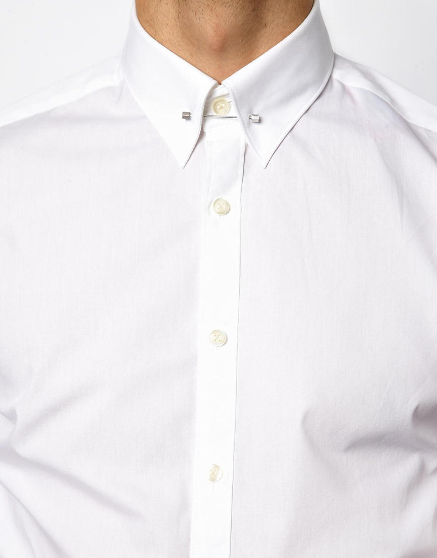Lambretta Shirt with Collar Bar in White for Men | Lyst