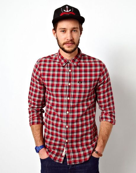 Cheap monday lee shirt flannel check slim fit in red for for Mens slim fit flannel shirt
