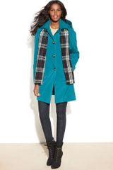 London Fog Singlebreasted Hooded Raincoat with Plaid Scarf in Blue (Spruce) - Lyst