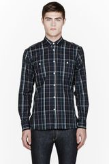 Maison Kitsuné Green and Grey Worker Check Shirt - Lyst