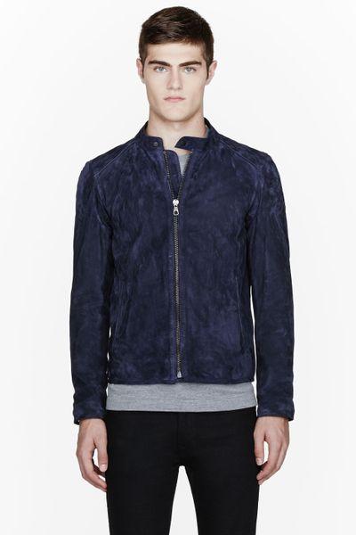 Rag Amp Bone Leather Trimmed Maccles Field Jacket In Blue