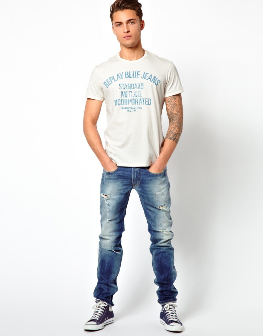 lyst replay tshirt blue jeans standard logo in white for men