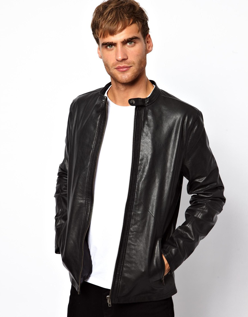 Lyst - Asos Selected Leather Jacket in Black for Men